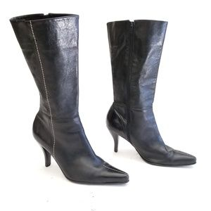 Franco Sarto Sexy Leather Heeled Boots Size 9 M